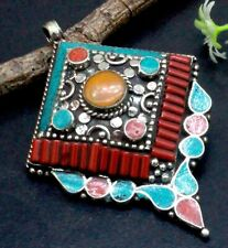 """Tibetan Silver Turquoise & Red Coral Gemstone Jewelry Pendant Size-2"""""""