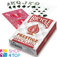 BICYCLE PRESTIGE 100% PLASTIC POKER PLAYING CARDS DECK JUMBO INDEX RED NEW