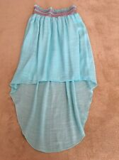 Girl's High Low Teal Blue Skirt, Size 12