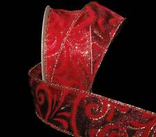 "10 Yards Red Gold Furry Fuzzy Velvet Swirls Sheer Christmas Wired Ribbon 1 1/2""W"