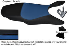 BLACK AND ROYAL BLUE CUSTOM MADE FITS HONDA VFR 800 98-01 LEATHER SEAT COVER