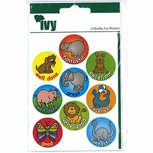 54 Motivational Stickers Self Adhesive Labels 19mm - Animals - Ivy Stationery