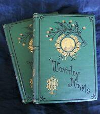 The Antiquary 2 Vol Lot Walter Scott Waverley Thistle Antique 1874 Victorian