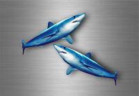 2x autocollant sticker voiture moto peche requin taupe poisson pecheur
