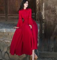Womens Chiffon Long Slim Dress Ball Gown Stand Collar Button Flare Sleeves Dress