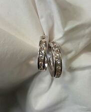 14k white gold clear synthetic hoop loop earrings
