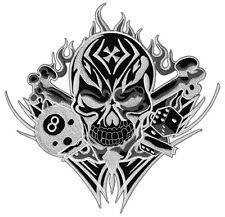 #19 Totenkopf 8 Ball Würfel Backpatch Rückenaufnäher Aufnäher Groß 21 x 21 cm