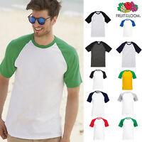 Men's Short Sleeve Baseball Tee - Fruit of the Loom Casual T-shirt Raglan Top