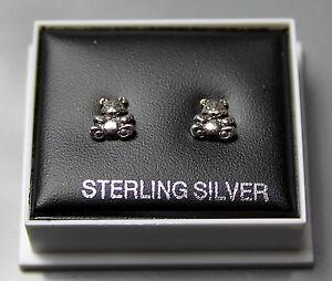 STERLING SILVER 925, STUD EARRINGS, TEDDY BEAR  , BUTTERFLY BACKS,  STUD 123