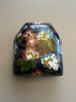 vintage cloisonne Pill Box Flower No Hinge Black