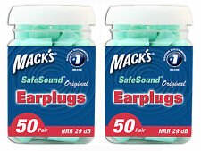 MACKS(MACK'S) ORIGINAL MINT GREEN FOAM EARPLUGS 50 PAIR JAR TWIN PACK 100 PAIRS