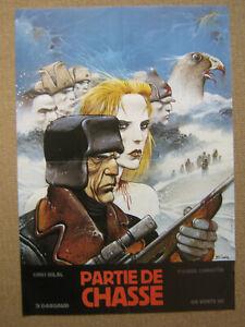 """RARE PLV ORIGINALE-GRANDE AFFICHE 1983""""PARTIE DE CHASSE""""ENKI BILAL(bd eo)"""