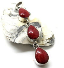 Beautifully Handcrafted 925 Sterling Silver Red Coral Pendant