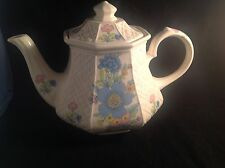 Sadler Teapot Octagon Basketweave Blue Pink Yellow Floral Made In England 1947+