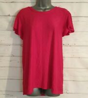M&S COLLECTION Size 24 Top PINK Textured POLKA DOT Fitted VGC Frilled Sleeves
