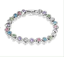 White Gold Plated Tennis Charm Bracelet with Crystals