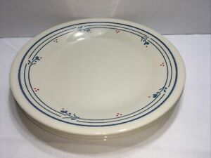 """4 Corelle Country Violets Bread/Butter Plates Blue Flowers Red Dots 6 1/2"""""""