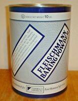 Vintage Fleischmann Baking Powder 10 Pound Tin / Metal Advertising Can w/ Lid