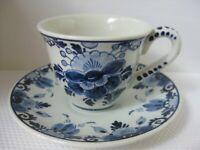 Vintage Regina Delfts Blauw Pottery Demitasse Cup Saucer Hallmarks Floral Dots