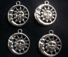 4 Celestial Sunface and Moon Pendants Charms Silver Tone Metal