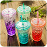 450ml Plastic Drink Iced Coffee Juice Cup Beaker Lid Smoothie Party W/ Straw
