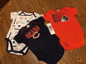 Chicago Bears NFL Infant Boys' 3-Pack Short-Sleeve Bodysuits, 18 Months, NWT