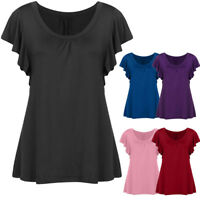 Women Ladies  Summer Loose Pleated Top Short Sleeve Blouse Casual Tops T Shirt
