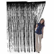 BLACK Metallic Foil Fringe Curtains Halloween Wedding Birthday Party Photo Decor