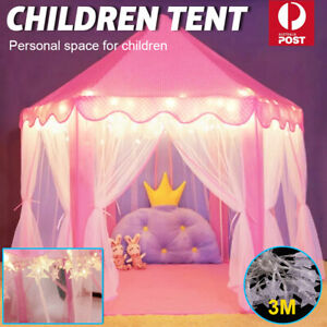 Kids Tepee Play Tent Princess Castle Children Play House Indoor Outdoor+Lights