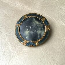 BOUTON Ancien Emaillé Effet Marbre Bleu Trompe l'Oeil 1900 25 mm