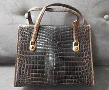 GUCCI Brown Crocodile Leather Italy Vintage Tiger Eye Vintage Bag Purse