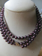 Violet/akoya A+ long/freshwater/cultivated pearl Necklace/5mm/48 ins Long/boxed