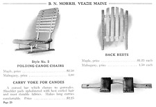 Early Classic B N. Morris Canoe Veazie Me. Boat Co. Maine carry yoke portage