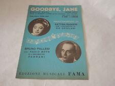 """SPARTITO MUSICALE DEL 1955""""GOODBYE JANE""""VALZER-CANTATA NEL FILM""""RED GARTERS!"""