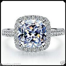 Princess cut 3.00CT Diamond VVS1 Solid Platinum PT950 White Gold Engagement Ring