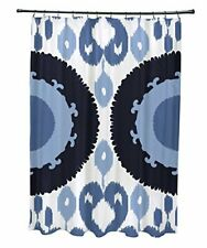 E by design Scgn546Bl14Bl15 Boho, Geometric Print Shower Curtain, Navy Blue