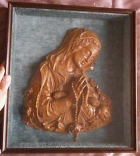Vierge au chapelet signée PAGLIARO - Bois sculpté vernis & doré - Cadre & verre