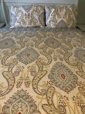 Gray, Yellow, Red Reversible Bed Quilt And 2 Pillow Shams Set, Queen Size