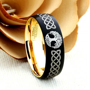 Personalized Men's Tungsten Wedding Ring Band, Promise Ring, Celtic Knot Tree