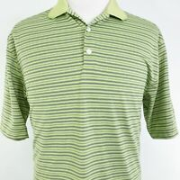 NIKE DRI-FIT UV SHORT SLEEVE GREEN STRIPED POLYESTER GOLF POLO SHIRT MENS SIZE L