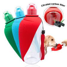 550ml Portable Dog Water Bottle Bowl Activated Carbon Filter Dispenser Feeder