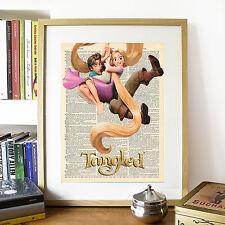 DISNEY aggrovigliati SPILLA & Flynn Rider FINTO DIZIONARIO pagina art print poster.