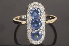 A SOLID 9ct GOLD DIAMOND & CEYLON BLUE SAPPHIRE CLUSTER RING SIZE N (US 6.75)
