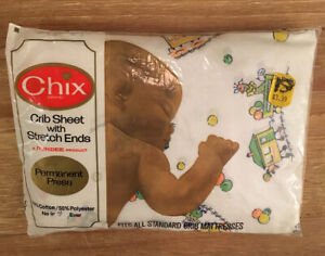 Vintage 1973 CHIX by Dundee Baby Crib Fitted Sheet  Circus Clown Train NOS