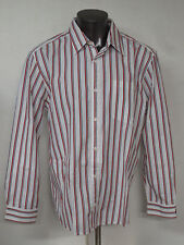 Mens S.Oliver XL Slim Fit Long Sleeve Button Front Dress Shirt Candy Cane Stripe