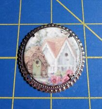 Framed Round With Birdhouses~Magnetic Needle Minder Tool