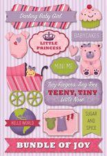KAREN FOSTER DESIGN DARLING BABY GIRL PREGNANCY CARDSTOCK SCRAPBOOK STICKERS