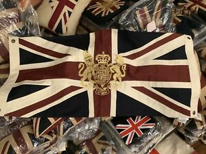 Union Jack Flag with Gold Royal Coat of Arms Embroidered Crest (101x 50cms V W )