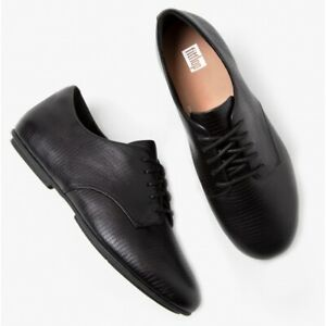 FitFlop ADEOLA LIZARD Ladies Lace-Up Premium Leather Derby Shoes All Black