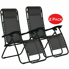 2x Zero Gravity Chair Sun Lounger Outdoor Garden Folding Reclining Adjustable